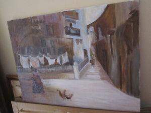 Village Scene Painting-- Oil On Canvas