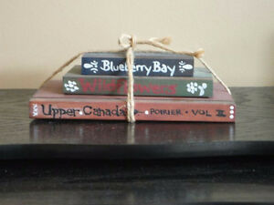Decorative stack of 3 wooden books handpainted NEW