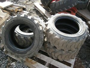 4 Skid Steer Tires - 10-6.5