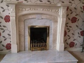 Beautiful Cream Marble Effect Fireplace Surround (including Mantelpiece) & Granite Hearth