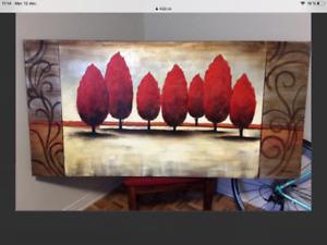 Grand cadre arbre rouge