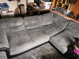 Right hand jumbo grey cord corner sofa