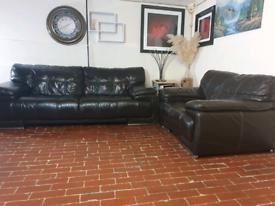 Sofology violino ex-display 3+2 seater dark brown leather sofa's