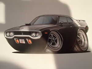 """1971 / 72 PLYMOUTH ROAD RUNNER BLACK WALL ART PICTURE 11"""" X 8.5"""""""