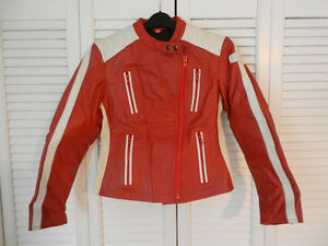 Young Lady's Genuine Red Leather Motorcycle Jacket