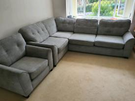 DFS grey corner sofa, single seater and foot stool