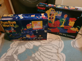 X2 vintage early 90s tomy toys fun run world and big big loader