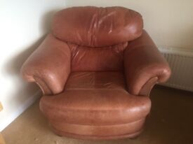 3 Piece Tan Leather Sofa FREE TO COLLECTOR
