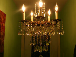 chandelier antique/1940,style Louis XVI, 5 feux bronze & cristal