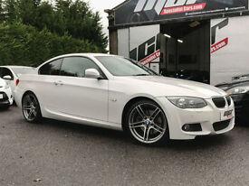 "BMW 330d M Sport Coupe, 60 Reg, 60k, Mineral White, Sat Nav, Manual, 19"" Alloys."