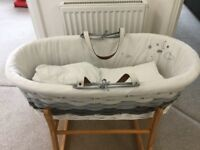 Moses basket,stand and sheets