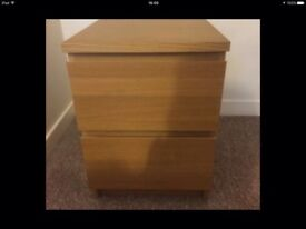 2 ikea oak veneer bedside tables