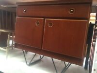 Vintage retro wooden teak mid century sideboard chest of drawers tv cabinet industrial hairpin legs