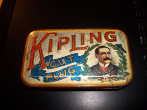 Vintage KIPLING Flat Pocket Tobacco Tin w/Contents