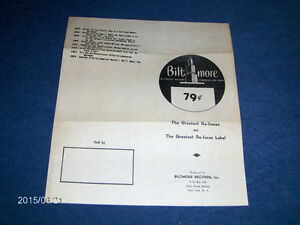 RARE BILTMORE RECORDS 2 PAGE CATALOG-1950/60'S-NEW YORK