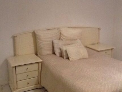 Harvey Norman Cream and Gold Corinthian Bed Head bargain