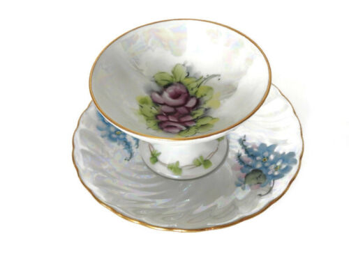 Antique C. Durflinger Hand Painted Lusterware Mini Compote and Saucer Mismatch