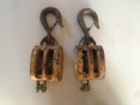 2 heavy duty two chive block pulleys