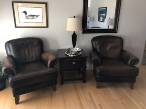 Large leather chairs