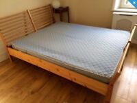 Solid-wood IKEA king (160x200) bed frame