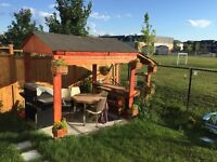 COMPLETE GAZEBO, BBQ, TABLE, CHAIRS