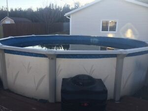18ft above ground pool & heat pump