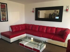 Faux leather couch set + tables! Must go ASAP!