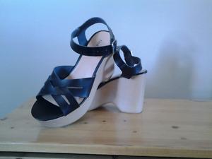Black,  high heeled,  platform, sandals.