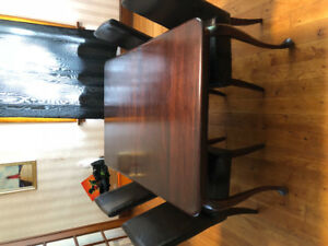 Moving sale! High end real wood dining table + 6 leather chairs