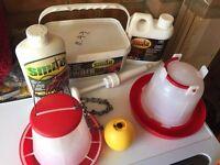 Chicken feeder, water bowl and mite powder
