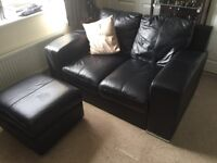 2 Seater Leather Sofa with matching leather footstool