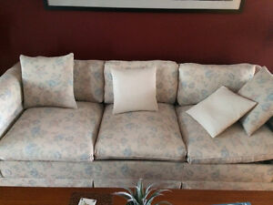 Queen size sofa hide-a-bed with two matching swivel arm chairs