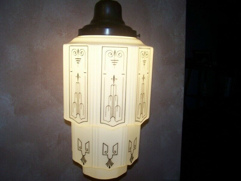 FANCY Decorated Art Deco Milk Glass Skyscraper Ceiling Light Fixture Restored