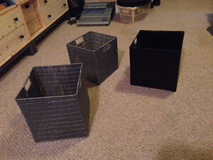 ASSORTMENT OF BINS, BASKETS & STORAGE BOXES FOR SALE