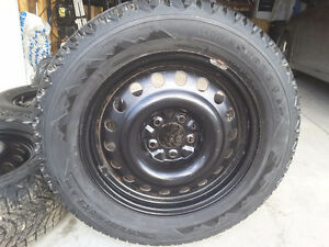 """Set of four, 17"""" Winter tires and rims"""