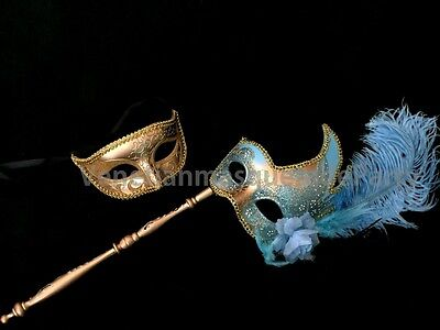 Halloween Costume Xmas New Year Eve Party Masquerade Gold Set couple stick mask