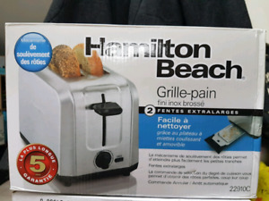 *new in box*TOASTER:Hamilton Beach stainless steel double wide