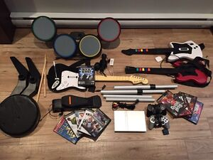 GUITAR HERO AND ROCK BAND SET WITH PLAYSTATION 2 AND EXTRA GAMES
