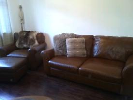 Italian tan leather sofa, chair and footstool