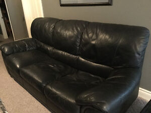 Top grain black leather couch