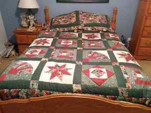 Queen size bed cover with pillow shams and skirt