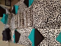 Linens for Party/Wedding Like New, Teal &blk with leopard print