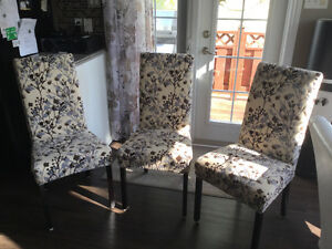 3 parsons chairs