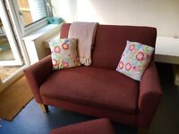 Small 2 seater sofa with footstool - £80
