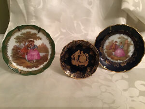 3 Limoges France Minature Plates on stands Cobalt Blue & Green