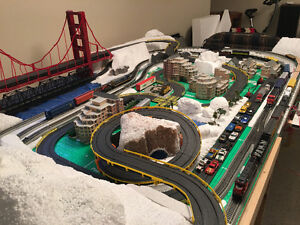 HO train and slot car set