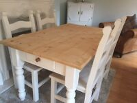 Amazing Shabby Chic Chunky Farmhouse Pine Table With Cutlery Drawer and 4 Lovely Chairs