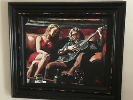 Fabian Perez Self Portrait With Girl and guitar