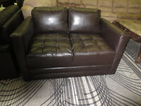 BROWN LEATHER LOVE SEAT- NEW ITEMS HAVE ARRIVED..