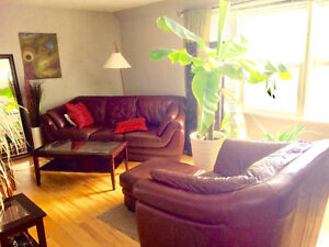 Real Leather Couch Chair & Ottoman REDUCED this weekend